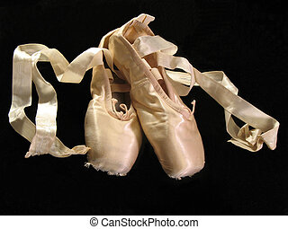 pointe shoes - one pair of pointe (toe) shoes, isolated on a...
