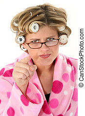 Angry Woman - Woman in hair rollers, pink poke-a-dot...