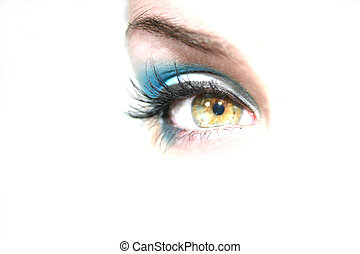 Green Eye - Green eyed girl looking forward with room for...