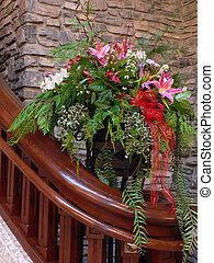 Flower Arrangement by Stairs - Arranged flowers by staircase...
