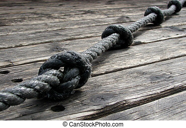 Rope and Knots - Old rope with knots