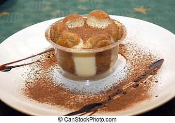 Tiramisu - Close-up of a plate with tiramisu, delicious...