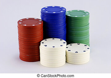 Poker Chips - Five stacks of colored poker chips.