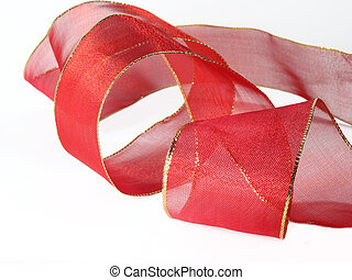 Red Ribbon - Red ribbon with gold trim