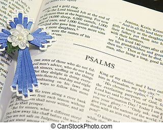 Psalms of the Bible - Close-up of Psalms bible pages and a...
