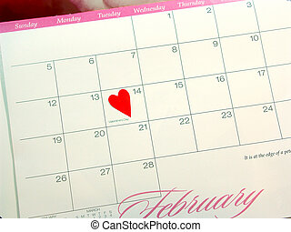 Valentines Day - Close-up of February Calendar highlighting...
