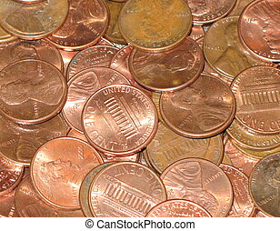 shiny pennies - background of copper Lincoln pennies