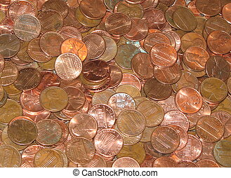 pennies - background of copper pennies