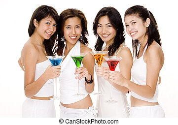 Cocktails 1 - Four young women in white with colorful...