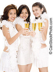 Champagne Girls #1 - Three attractive asian women in white...
