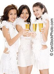 Champagne Girls #1 - Three attractive asian women in white...
