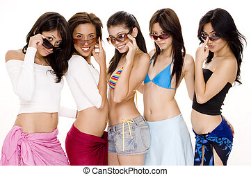 Beach Babes 3 - Five attractive asian women in summer...