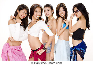 Beach Babes #5 - Five pretty young asian women in summer...