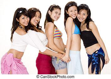 Beach Babes #7 - Five pretty young asian women having fun in...