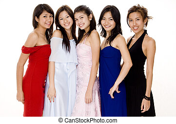 Glamorous 5 - Five beautiful young women in evening dresses