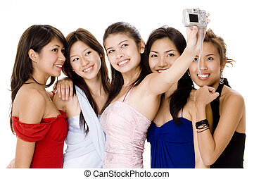 Glamorous #6 - Five attractive young women in evening...