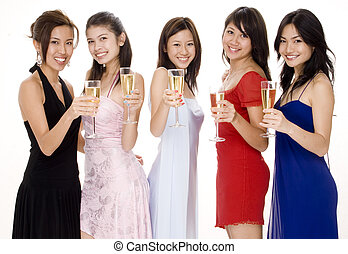 Glamorous 9 - Five attractive young asian women in evening...