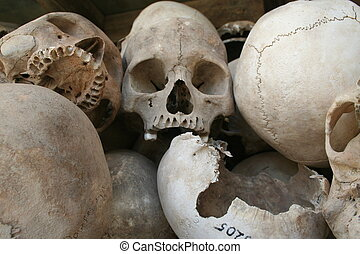 Human Skulls - Skulls on display at the infamous killing...