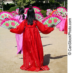 Fan dance - Korean school girls performing a traditional...