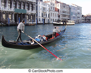 Gondolier in Venice - Gondola at  the Canal Grande, Venice