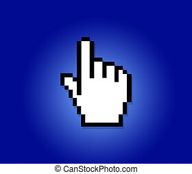 hand icon - hand cursor on a blue background