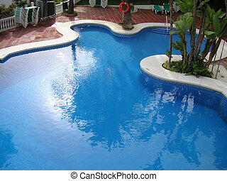 swimming pool - large swimming pool with an unusual shape