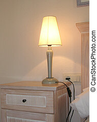 bedside lamp - lamp at the side of a bed