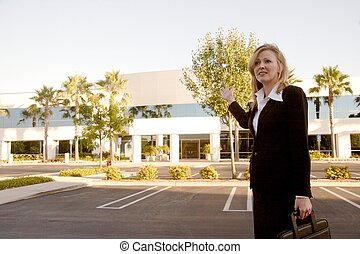 Real Estate Agent showing an office building