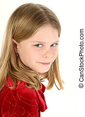 Girl Child Portrait - Beautiful 10 year old girl in red...