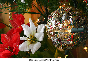 poinsettia and ball - closeup of the decorations on the tree