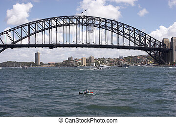 Sydney Harbour Bridge and Canoe