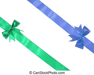 Blue and green ribbons - Blue green ribbons over white