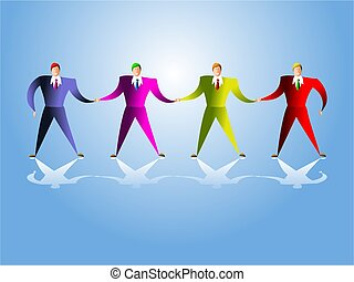 united team - colourful executives standing together