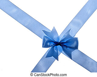 Cross ribbon - Blue ribbon over white