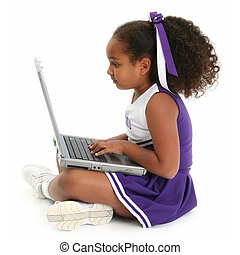 Girl Child Computer - Beautiful African American girl...
