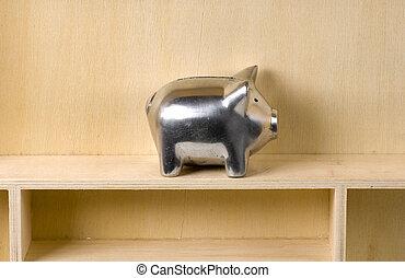 Piggy Bank on a Wooden Shelf