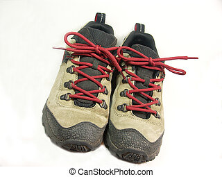 Hiking Shoes - Pair of hiking shoes on white background.