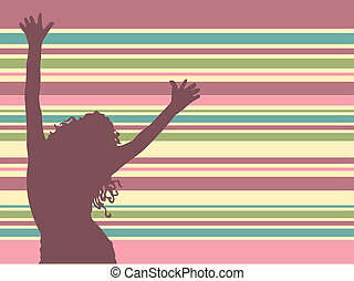 Lets dance - Female silhouette dancing on retro background