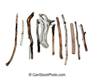 Sea twigs - Twigs polished by the sea on white background