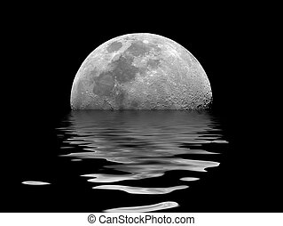 Moon Rising - Photo of moon, with rendered lake