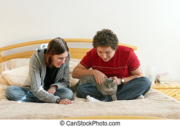 Couple with kitten
