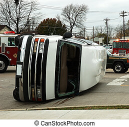 Traffic Accident Series. A van rolled on its side in an...