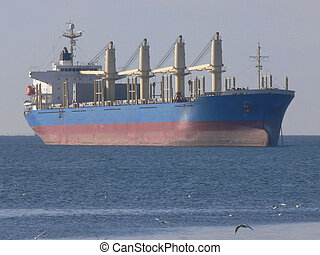 Bulk Cargo Ship - Bulk cargo ship at anchorage