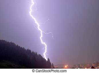 Strike - Fork of lightning striking an urban place