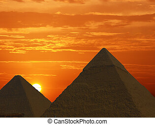 Sunrise Pyramids - Pyramids in Egypt at sunrise.