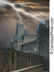 Dooms tower - Carcasonne Castle in France with a stormy...