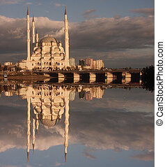 Religious reflection - Adana, Turkey, Mosque reflection in...
