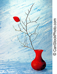 Last Leaf - Still life with red leaf on a branch