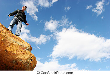 Man standing on top of the world - Man standing on top of...