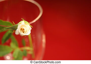 Rosebud Background - Tiny rosebud in wine glass on red...